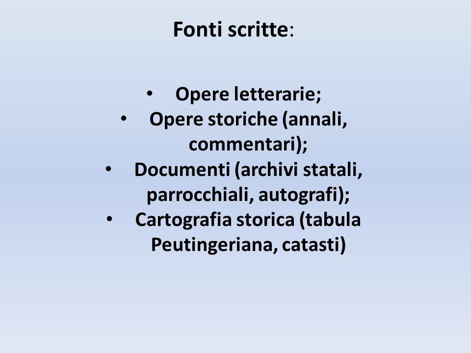 Fonti scritte: Opere letterarie; Opere storiche (annali, commentari); Documenti (archivi statali, parrocchiali, autografi); Cartografia storica (tabula Peutingeriana, catasti)