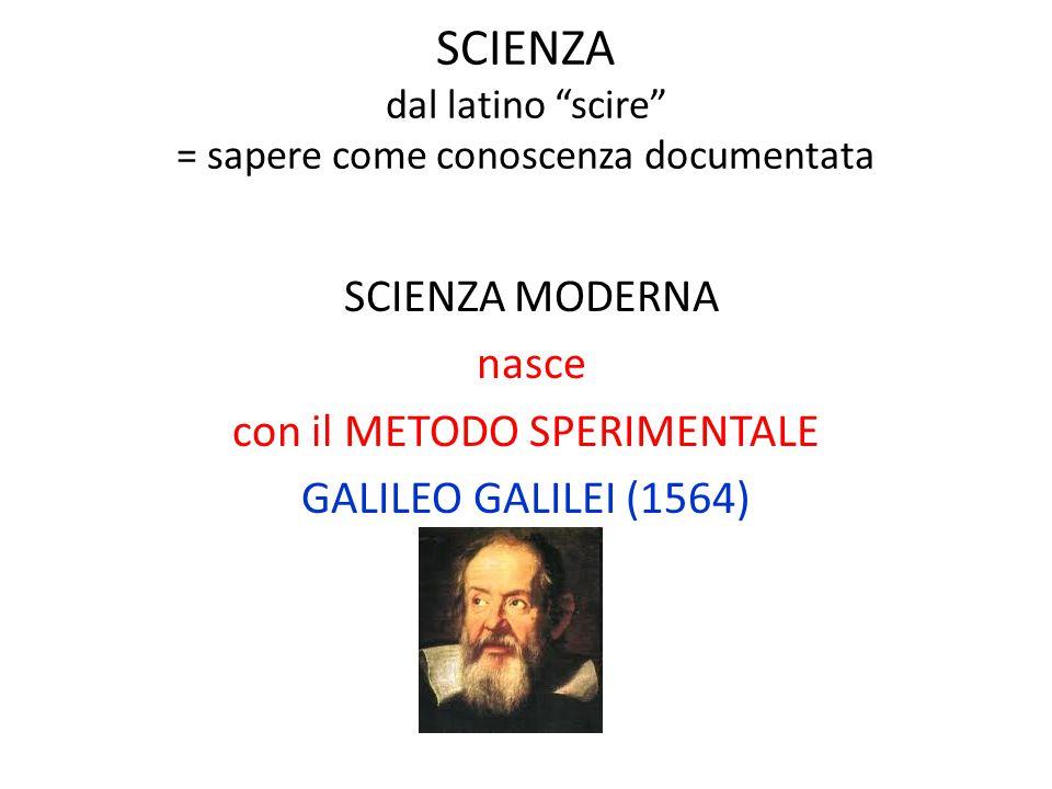"""SCIENZA dal latino """"scire"""" = sapere come conoscenza documentata SCIENZA MODERNA nasce con il METODO SPERIMENTALE GALILEO GALILEI (1564)"""