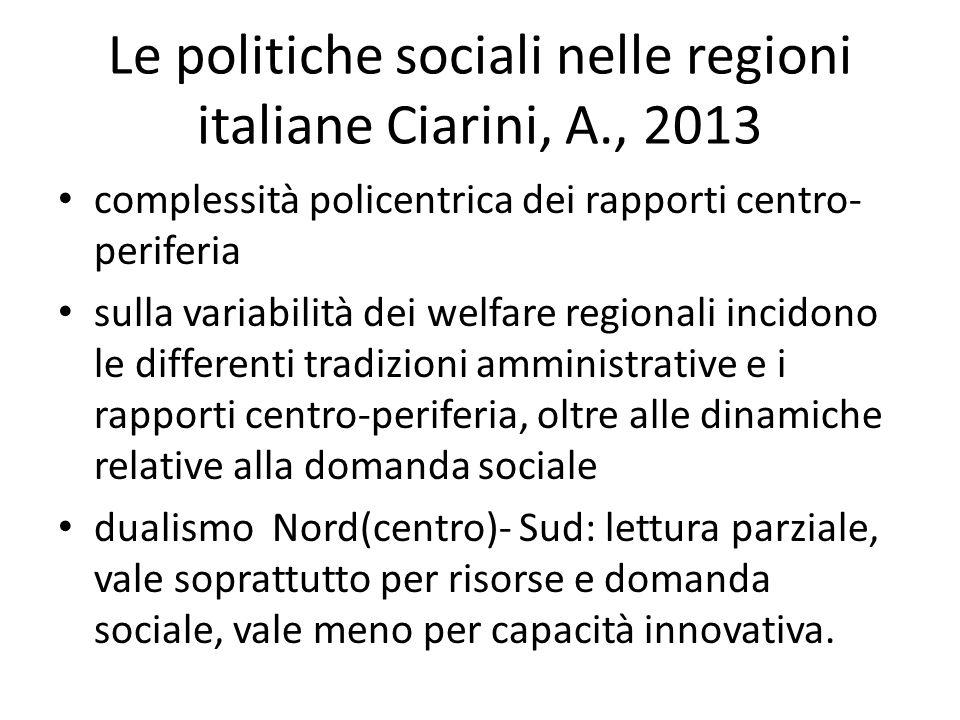 Le politiche sociali nelle regioni italiane Ciarini, A., 2013 complessità policentrica dei rapporti centro- periferia sulla variabilità dei welfare re