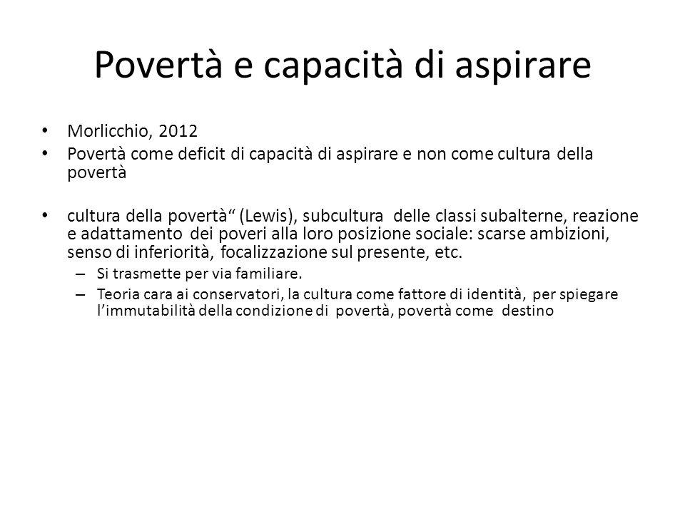 """Povertà e capacità di aspirare Morlicchio, 2012 Povertà come deficit di capacità di aspirare e non come cultura della povertà cultura della povertà"""" ("""