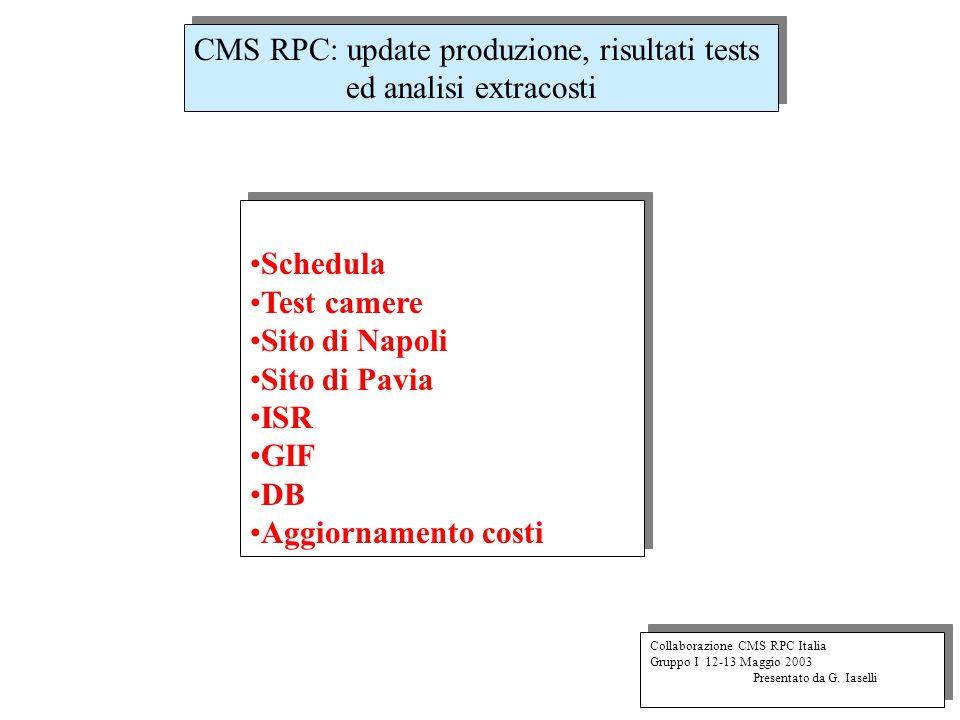 CMS RPC: update produzione, risultati tests ed analisi extracosti Collaborazione CMS RPC Italia Gruppo I 12-13 Maggio 2003 Presentato da G.