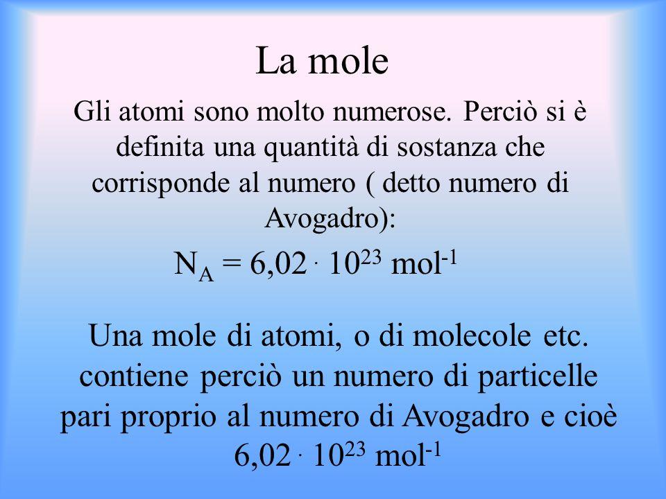 N A = 6,02. 10 23 mol -1 Gli atomi sono molto numerose. Perciò si è definita una quantità di sostanza che corrisponde al numero ( detto numero di Avog