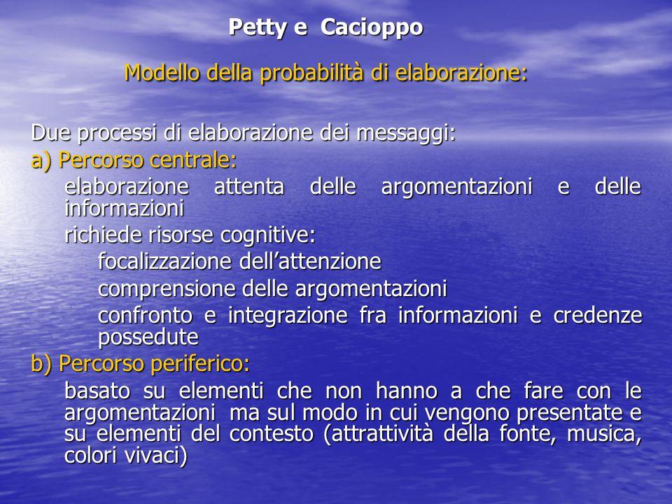 Petty e Cacioppo Modello della probabilità di elaborazione: Due processi di elaborazione dei messaggi: a) Percorso centrale: elaborazione attenta dell
