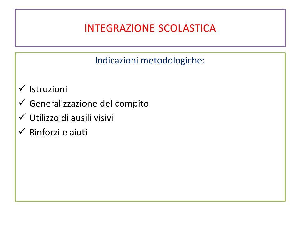 INTEGRAZIONE SCOLASTICA Indicazioni metodologiche: Istruzioni Generalizzazione del compito Utilizzo di ausili visivi Rinforzi e aiuti
