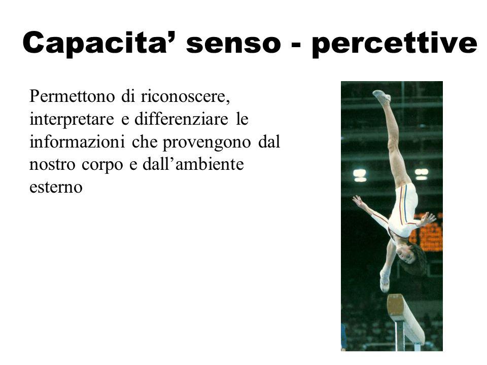 Capacita' senso - percettive Permettono di riconoscere, interpretare e differenziare le informazioni che provengono dal nostro corpo e dall'ambiente e