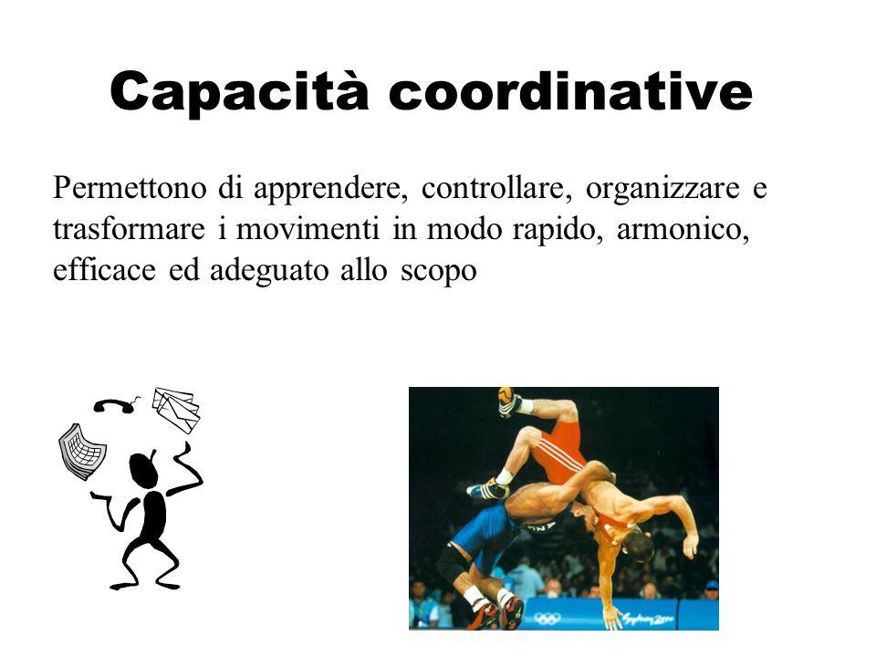 Capacità coordinative Permettono di apprendere, controllare, organizzare e trasformare i movimenti in modo rapido, armonico, efficace ed adeguato allo