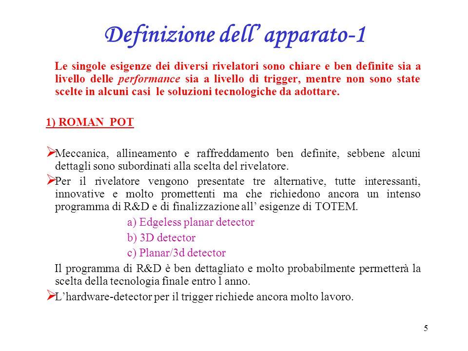 6 Definizione dell' apparato-2 2) T1  Meccanica, assemblaggio e sistema di inserimento ben definiti.