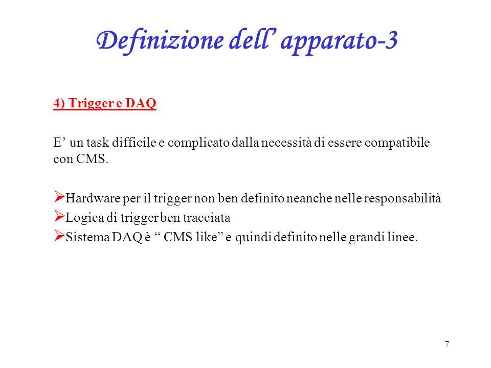 7 Definizione dell' apparato-3 4) Trigger e DAQ E' un task difficile e complicato dalla necessità di essere compatibile con CMS.