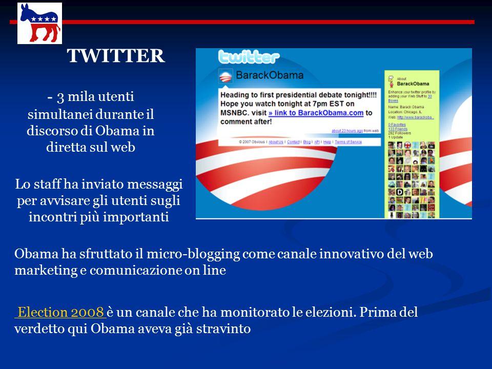 Sul sito tutti possono iscriversi Fare una donazione OBAMA.COM Interagire con gli altri Proporre idee Obama ha raccolto milioni di dollari dalla rete.