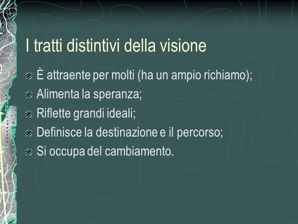 I tratti distintivi della visione È attraente per molti (ha un ampio richiamo); Alimenta la speranza; Riflette grandi ideali; Definisce la destinazion