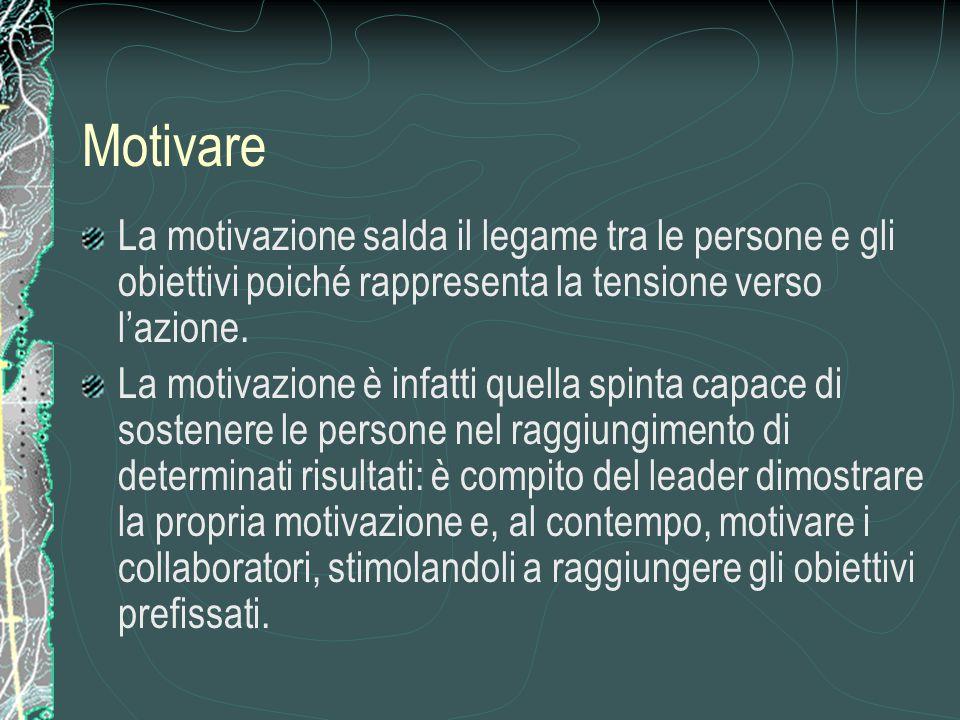 Motivare La motivazione salda il legame tra le persone e gli obiettivi poiché rappresenta la tensione verso l'azione. La motivazione è infatti quella