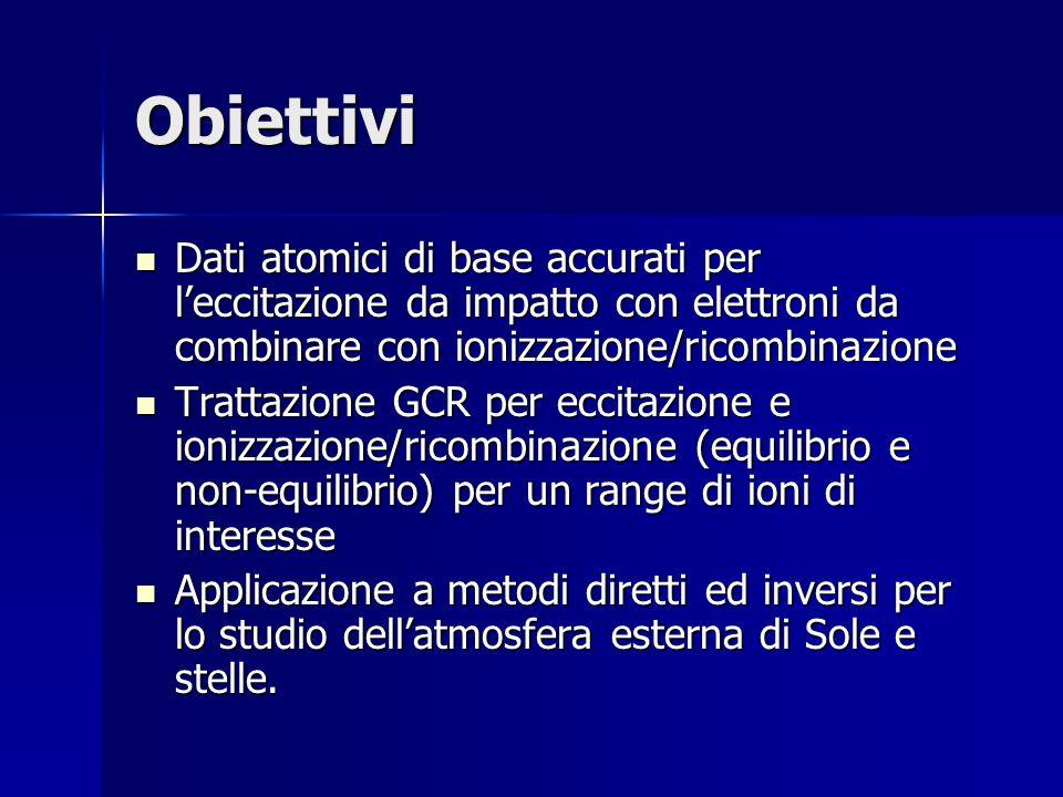 Obiettivi Dati atomici di base accurati per l'eccitazione da impatto con elettroni da combinare con ionizzazione/ricombinazione Dati atomici di base accurati per l'eccitazione da impatto con elettroni da combinare con ionizzazione/ricombinazione Trattazione GCR per eccitazione e ionizzazione/ricombinazione (equilibrio e non-equilibrio) per un range di ioni di interesse Trattazione GCR per eccitazione e ionizzazione/ricombinazione (equilibrio e non-equilibrio) per un range di ioni di interesse Applicazione a metodi diretti ed inversi per lo studio dell'atmosfera esterna di Sole e stelle.