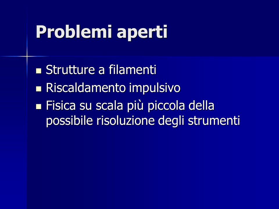 Problemi aperti Strutture a filamenti Strutture a filamenti Riscaldamento impulsivo Riscaldamento impulsivo Fisica su scala più piccola della possibile risoluzione degli strumenti Fisica su scala più piccola della possibile risoluzione degli strumenti