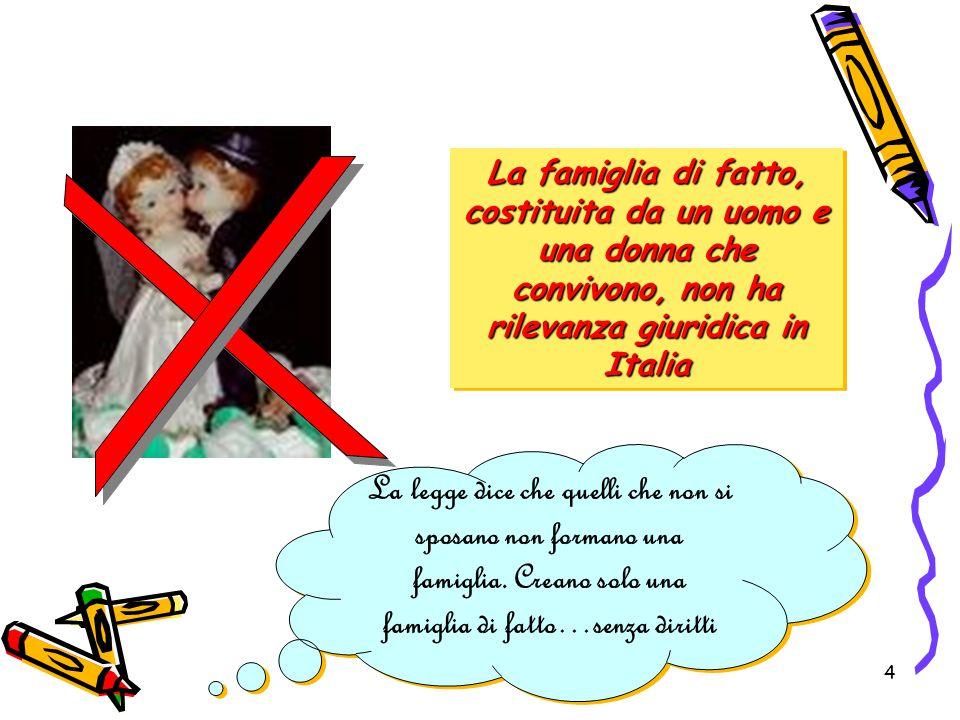4 La famiglia di fatto, costituita da un uomo e una donna che convivono, non ha rilevanza giuridica in Italia La legge dice che quelli che non si spos
