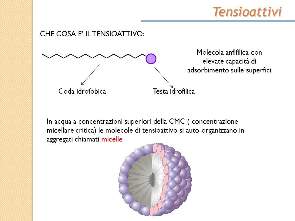 Tensioattivi CHE COSA E' IL TENSIOATTIVO: Molecola anfifilica con elevate capacità di adsorbimento sulle superfici Coda idrofobicaTesta idrofilica In