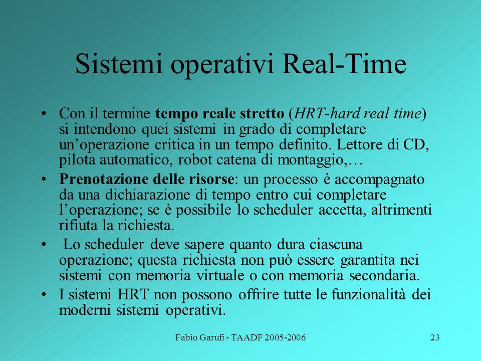 Fabio Garufi - TAADF 2005-200623 Sistemi operativi Real-Time Con il termine tempo reale stretto (HRT-hard real time) si intendono quei sistemi in grado di completare un'operazione critica in un tempo definito.