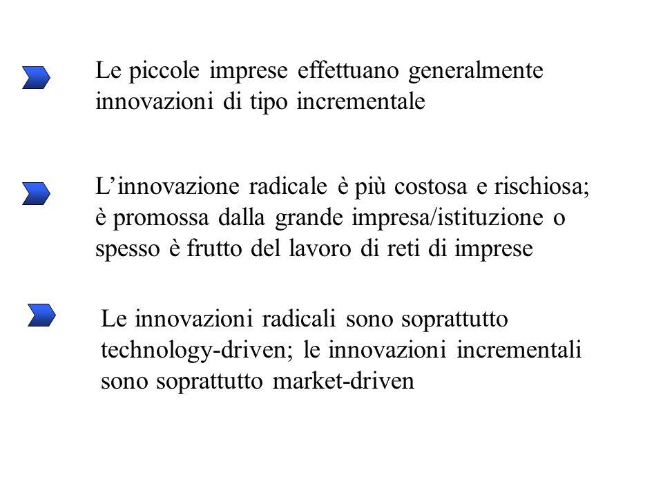 Le piccole imprese effettuano generalmente innovazioni di tipo incrementale L'innovazione radicale è più costosa e rischiosa; è promossa dalla grande impresa/istituzione o spesso è frutto del lavoro di reti di imprese Le innovazioni radicali sono soprattutto technology-driven; le innovazioni incrementali sono soprattutto market-driven