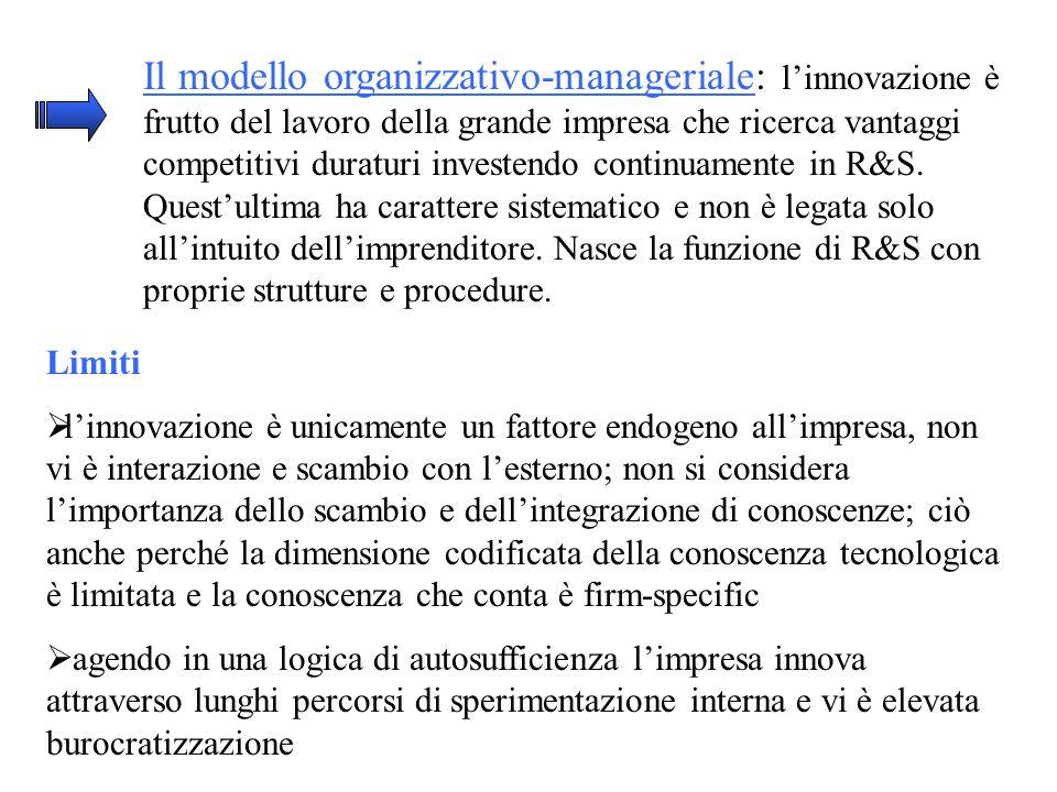 Il modello organizzativo-manageriale: l'innovazione è frutto del lavoro della grande impresa che ricerca vantaggi competitivi duraturi investendo continuamente in R&S.