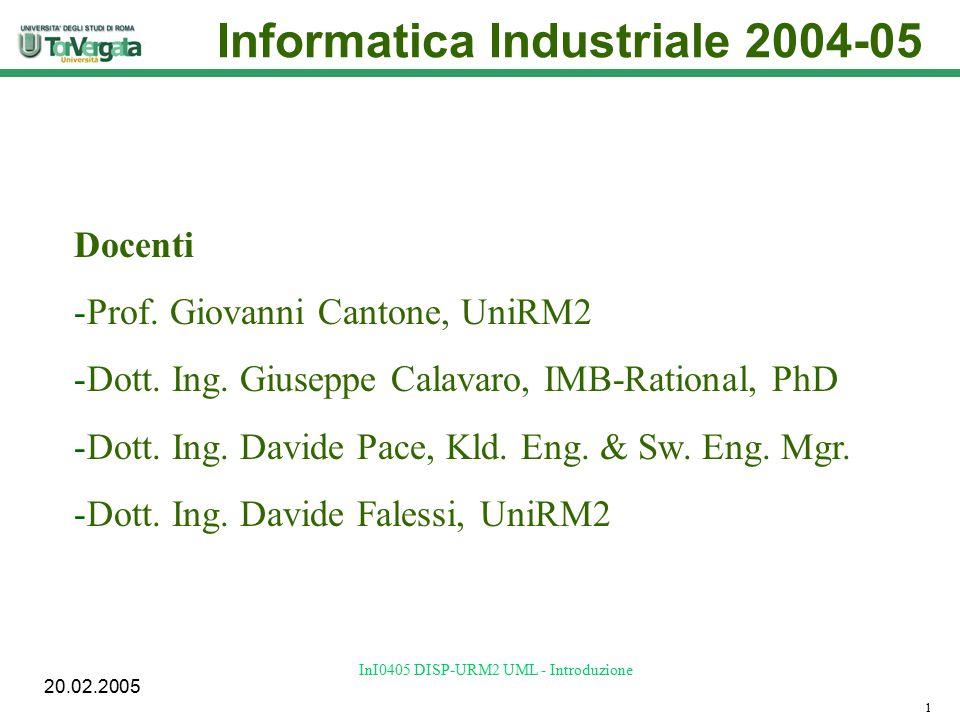 20.02.2005 InI0405 DISP-URM2 UML - Introduzione Obiettivi Analisi e costruzione sistematiche del software 2 Metodologia UML+RUP