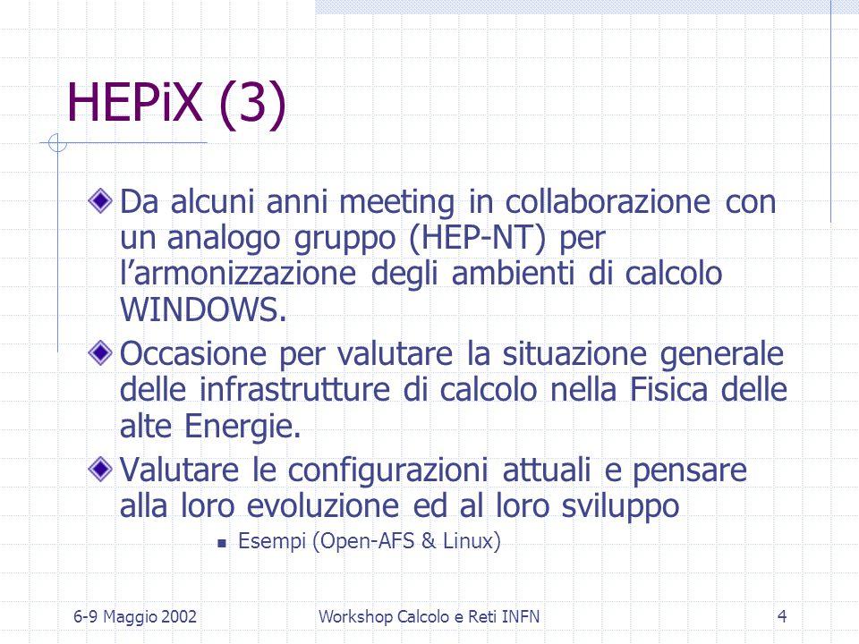 6-9 Maggio 2002Workshop Calcolo e Reti INFN4 HEPiX (3) Da alcuni anni meeting in collaborazione con un analogo gruppo (HEP-NT) per l'armonizzazione degli ambienti di calcolo WINDOWS.