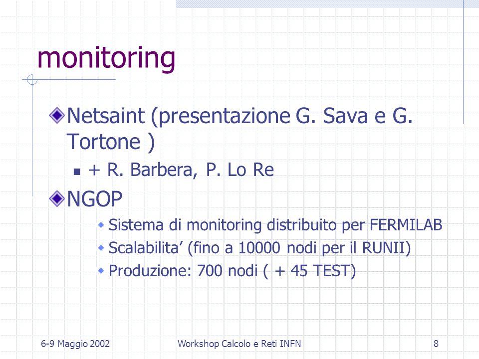 6-9 Maggio 2002Workshop Calcolo e Reti INFN8 Spring 2002 monitoring Netsaint (presentazione G. Sava e G. Tortone ) + R. Barbera, P. Lo Re NGOP  Siste