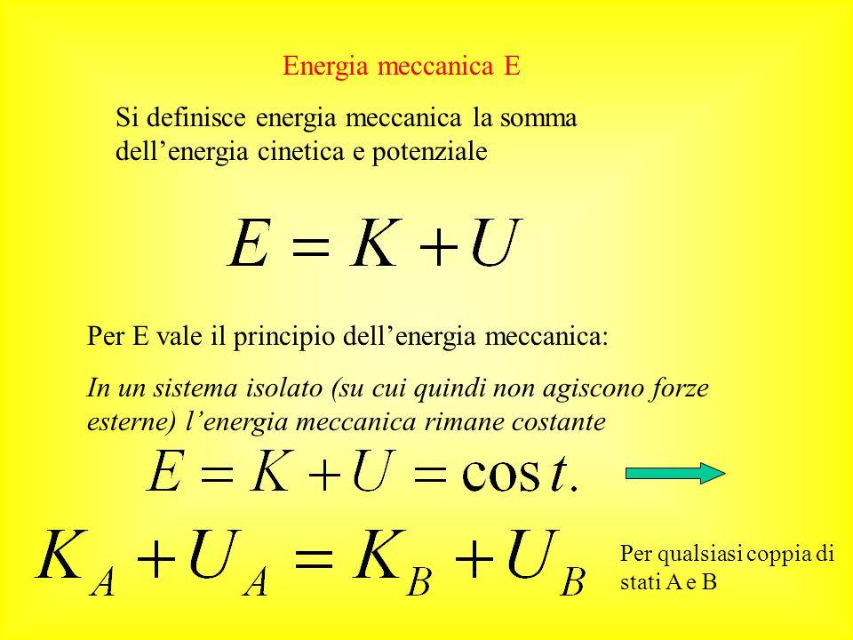 Energia potenziale: è l'energia posseduta da un corpo posto in un campo gravitazionale. Si definisce perciò energia potenziale mg h N.B. l'unità S.I.