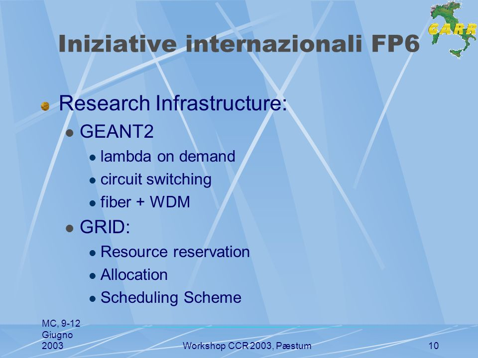 MC, 9-12 Giugno 2003Workshop CCR 2003, Pæstum10 Iniziative internazionali FP6 Research Infrastructure: GEANT2 lambda on demand circuit switching fiber + WDM GRID: Resource reservation Allocation Scheduling Scheme