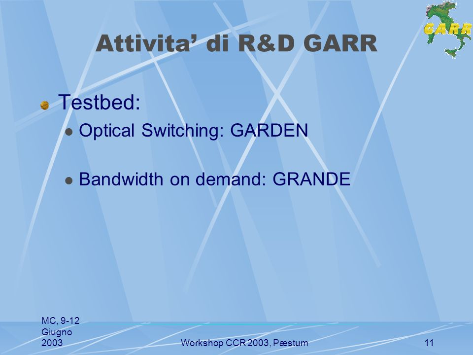 MC, 9-12 Giugno 2003Workshop CCR 2003, Pæstum11 Attivita' di R&D GARR Testbed: Optical Switching: GARDEN Bandwidth on demand: GRANDE