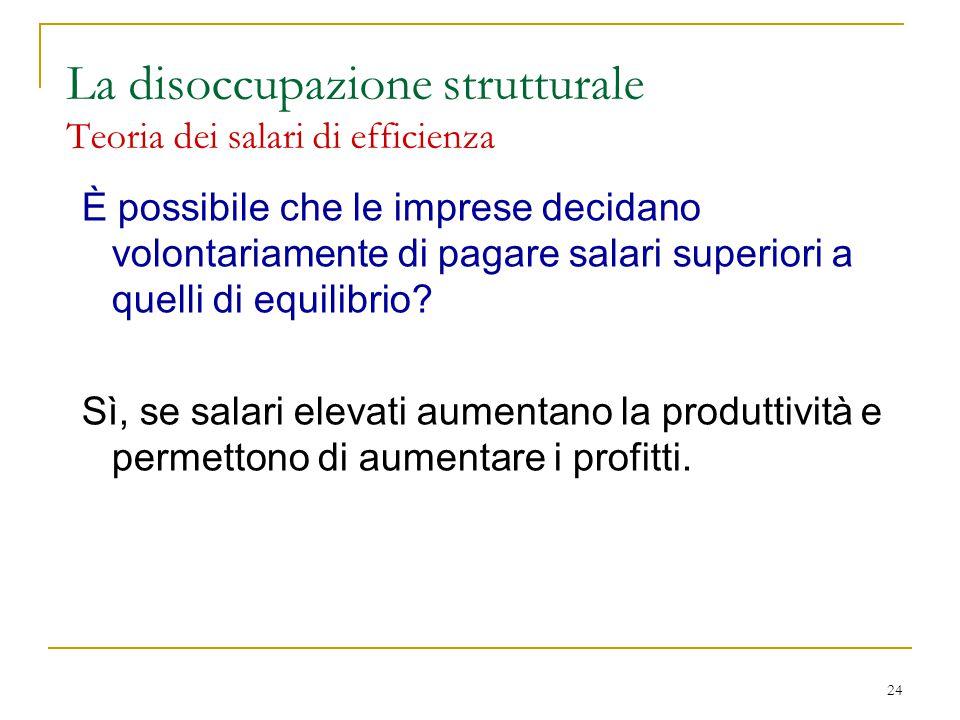 24 La disoccupazione strutturale Teoria dei salari di efficienza È possibile che le imprese decidano volontariamente di pagare salari superiori a quelli di equilibrio.