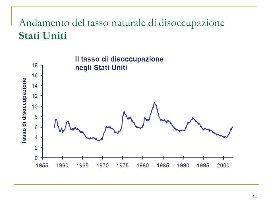 42 Andamento del tasso naturale di disoccupazione Stati Uniti Il tasso di disoccupazione negli Stati Uniti 0 2 4 6 8 10 12 14 16 18 1955196019651970197519801985199019952000 Tasso di disoccupazione