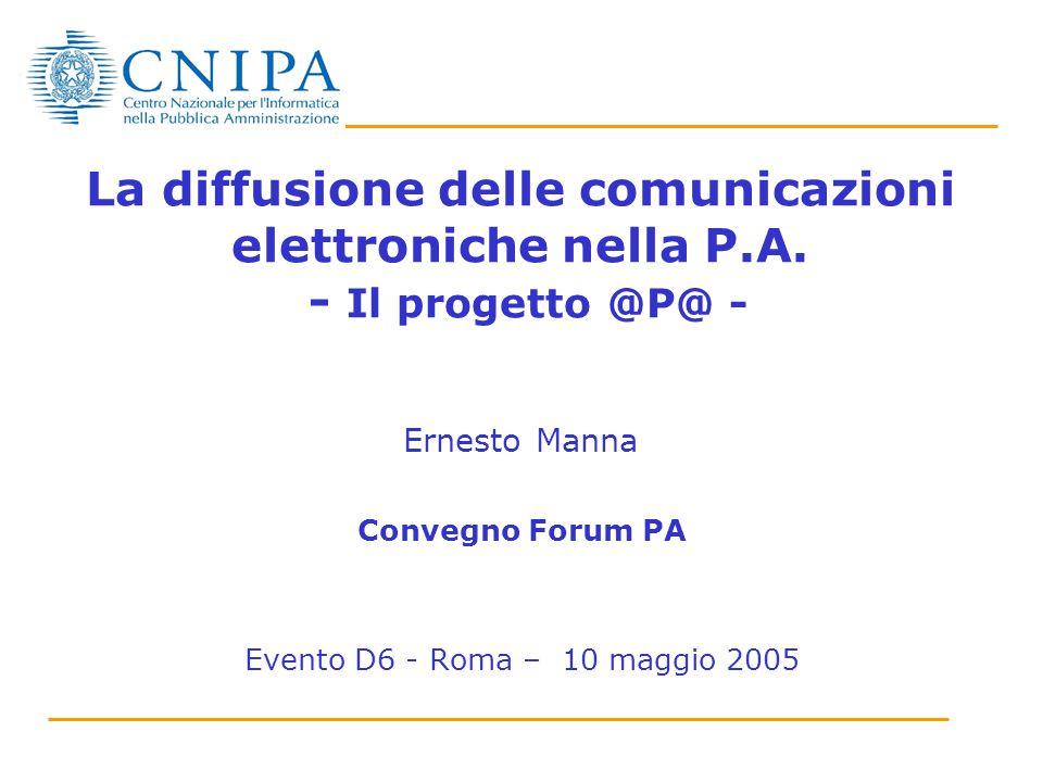 La diffusione delle comunicazioni elettroniche nella P.A. - Il progetto @P@ - Ernesto Manna Convegno Forum PA Evento D6 - Roma – 10 maggio 2005