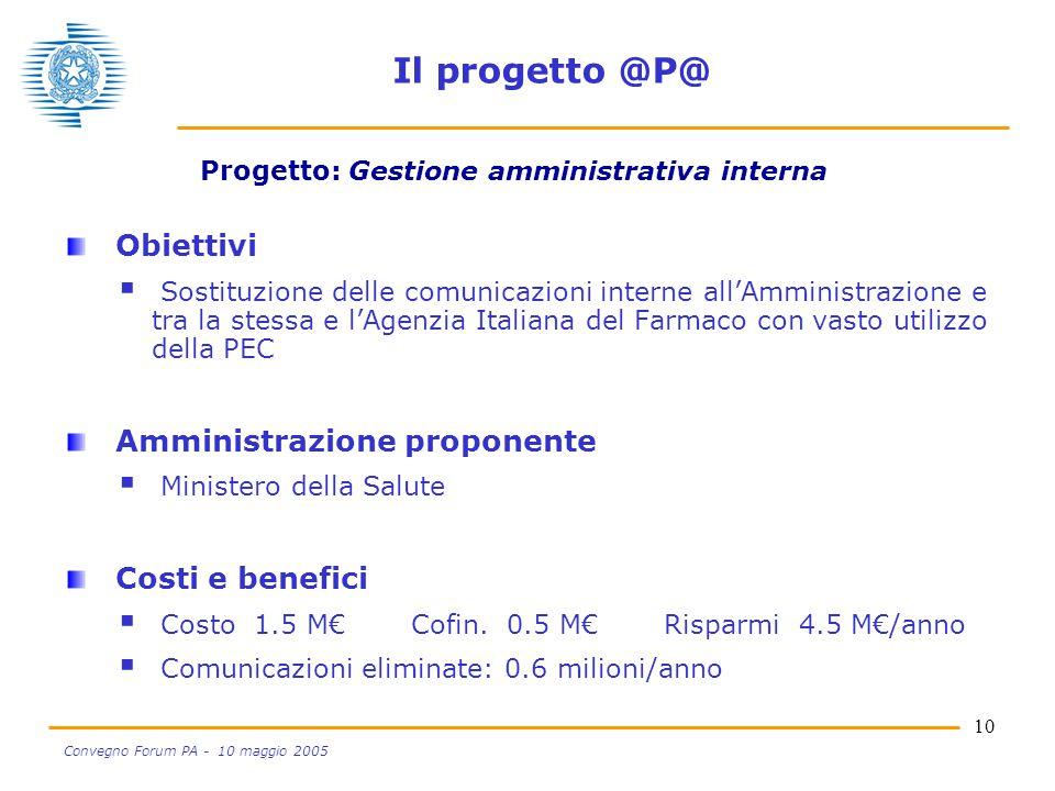 10 Convegno Forum PA - 10 maggio 2005 Il progetto @P@ Obiettivi  Sostituzione delle comunicazioni interne all'Amministrazione e tra la stessa e l'Age