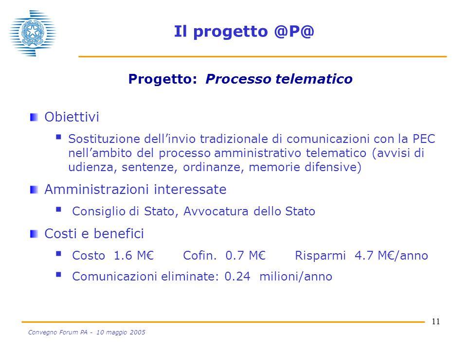 11 Convegno Forum PA - 10 maggio 2005 Il progetto @P@ Obiettivi  Sostituzione dell'invio tradizionale di comunicazioni con la PEC nell'ambito del pro