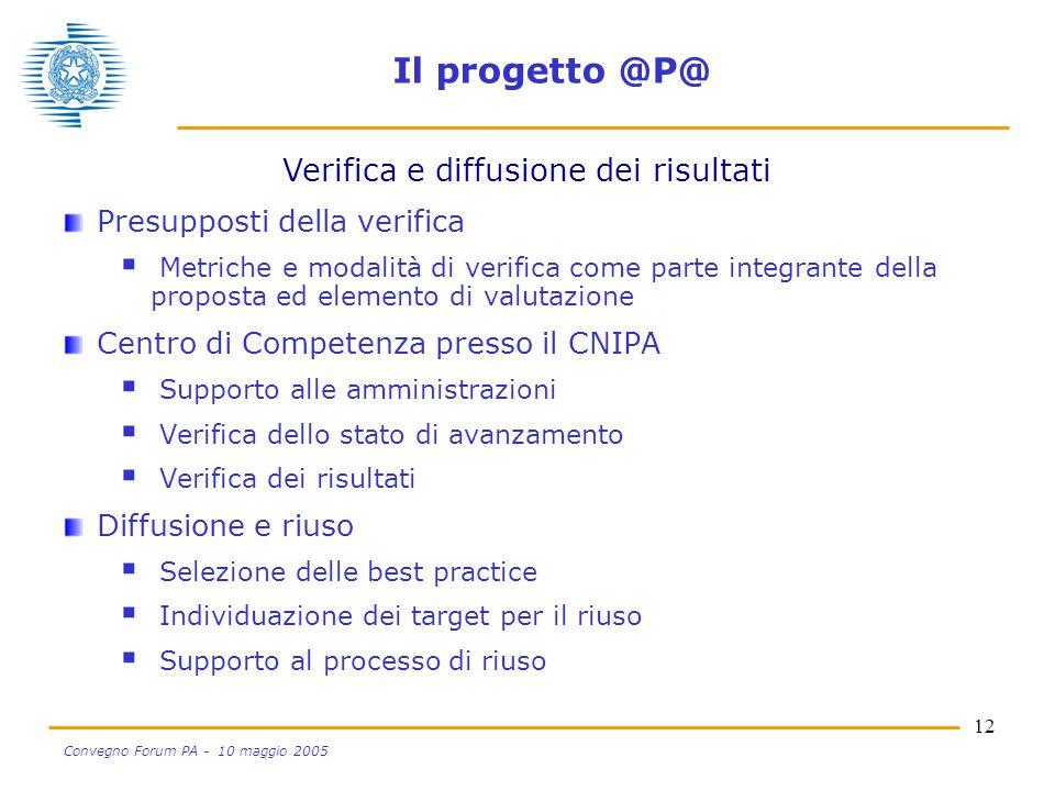 12 Convegno Forum PA - 10 maggio 2005 Il progetto @P@ Presupposti della verifica  Metriche e modalità di verifica come parte integrante della propost