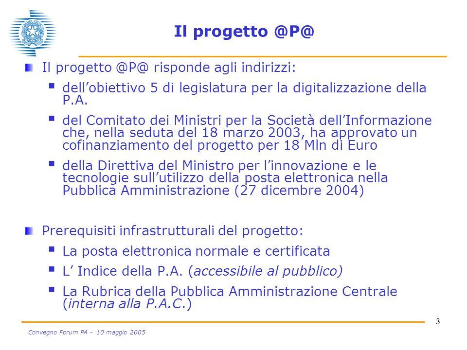 3 Convegno Forum PA - 10 maggio 2005 Il progetto @P@ Il progetto @P@ risponde agli indirizzi:  dell'obiettivo 5 di legislatura per la digitalizzazion