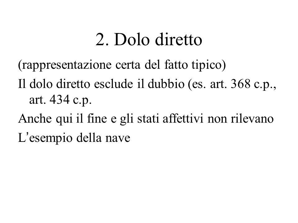 2. Dolo diretto (rappresentazione certa del fatto tipico) Il dolo diretto esclude il dubbio (es. art. 368 c.p., art. 434 c.p. Anche qui il fine e gli