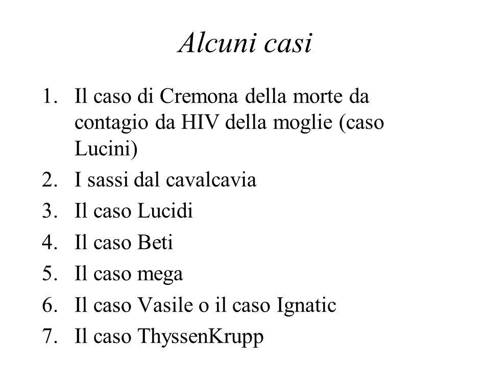 Alcuni casi 1.Il caso di Cremona della morte da contagio da HIV della moglie (caso Lucini) 2.I sassi dal cavalcavia 3.Il caso Lucidi 4.Il caso Beti 5.