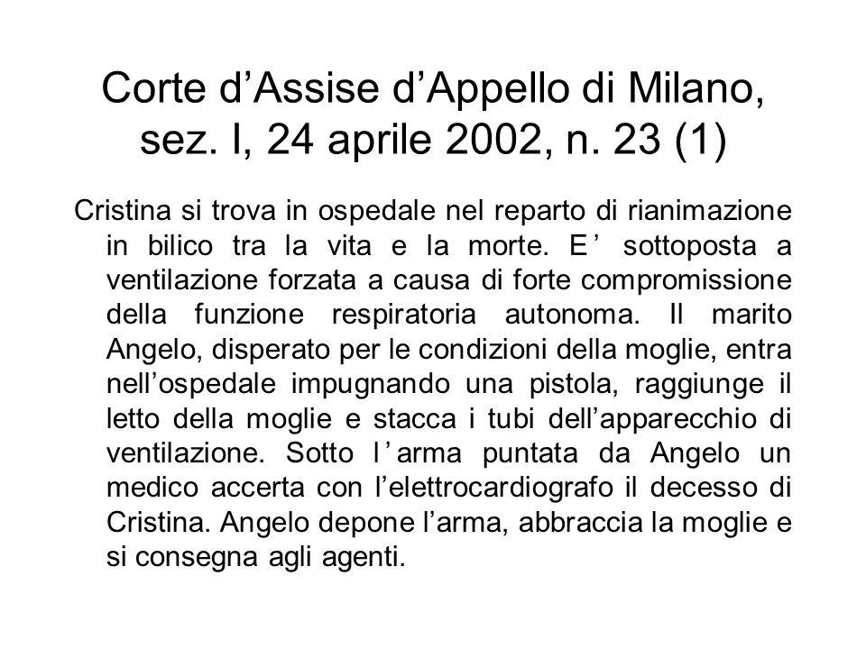 Corte d'Assise d'Appello di Milano, sez. I, 24 aprile 2002, n. 23 (1) Cristina si trova in ospedale nel reparto di rianimazione in bilico tra la vita