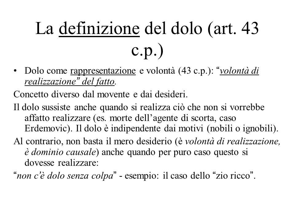 """La definizione del dolo (art. 43 c.p.) Dolo come rappresentazione e volontà (43 c.p.): """"volontà di realizzazione"""" del fatto. Concetto diverso dal move"""