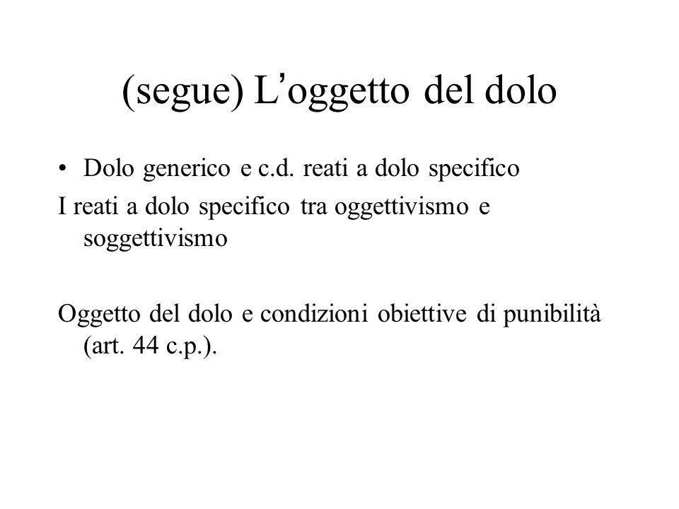 (segue) L'oggetto del dolo Dolo generico e c.d. reati a dolo specifico I reati a dolo specifico tra oggettivismo e soggettivismo Oggetto del dolo e co