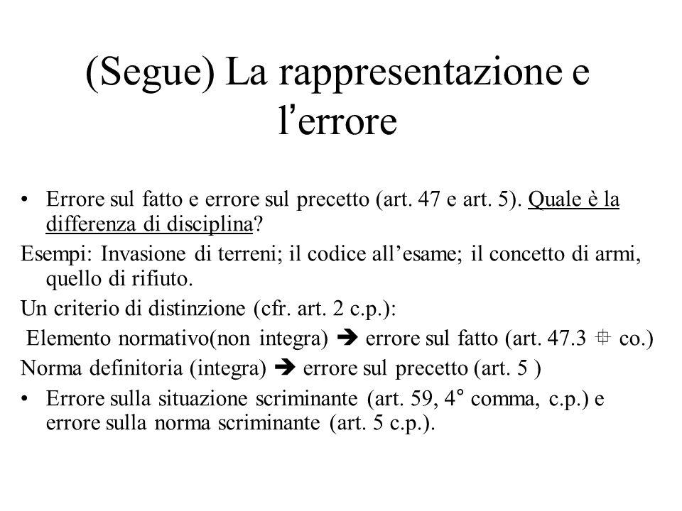 (Segue) La rappresentazione e l'errore Errore sul fatto e errore sul precetto (art. 47 e art. 5). Quale è la differenza di disciplina? Esempi: Invasio