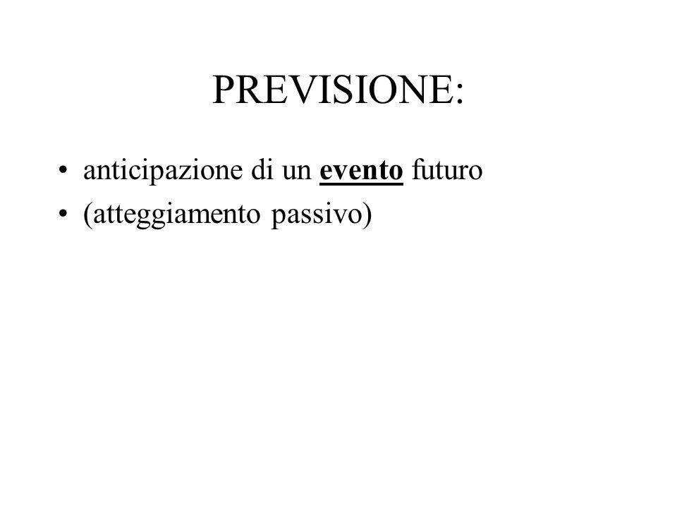 PREVISIONE: anticipazione di un evento futuro (atteggiamento passivo)