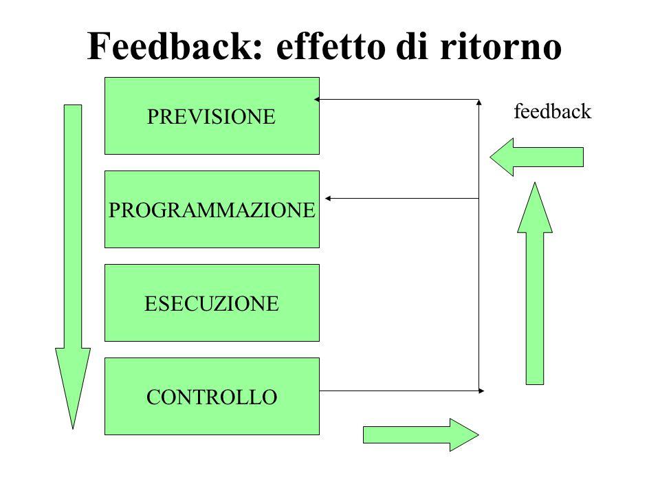 PREVISIONE PROGRAMMAZIONE ESECUZIONE CONTROLLO feedback Feedback: effetto di ritorno