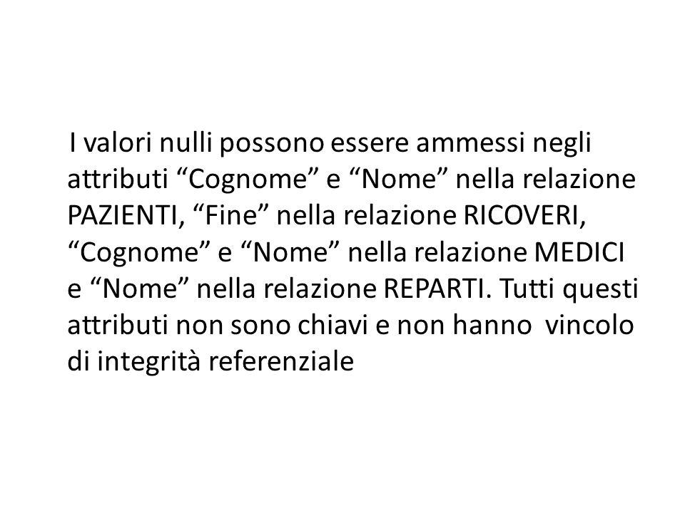 I valori nulli possono essere ammessi negli attributi Cognome e Nome nella relazione PAZIENTI, Fine nella relazione RICOVERI, Cognome e Nome nella relazione MEDICI e Nome nella relazione REPARTI.
