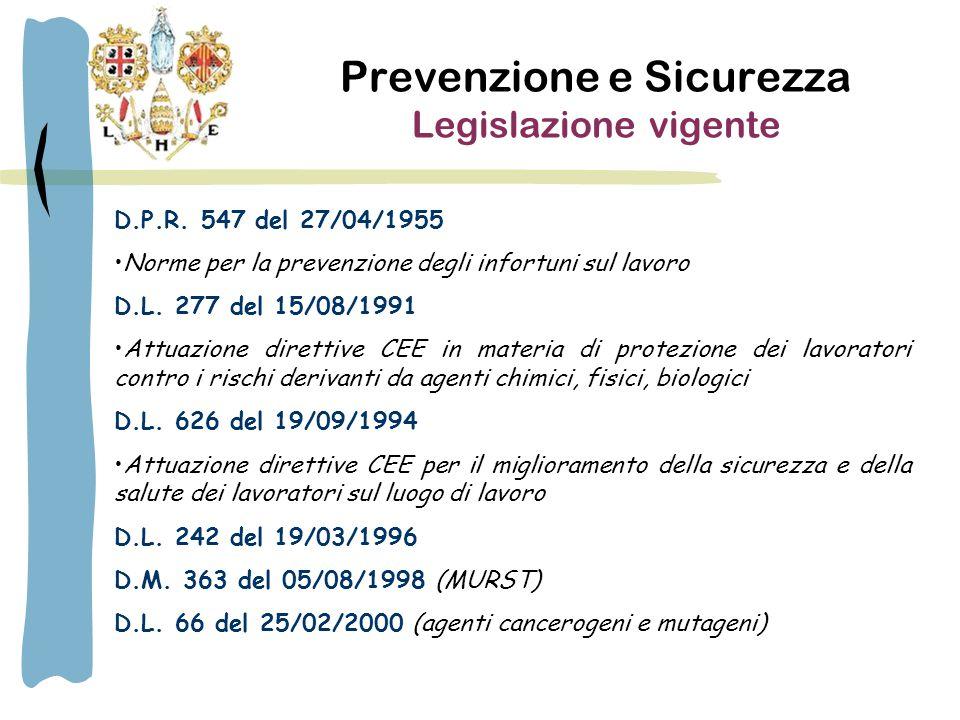 Prevenzione e Sicurezza Legislazione vigente D.P.R.