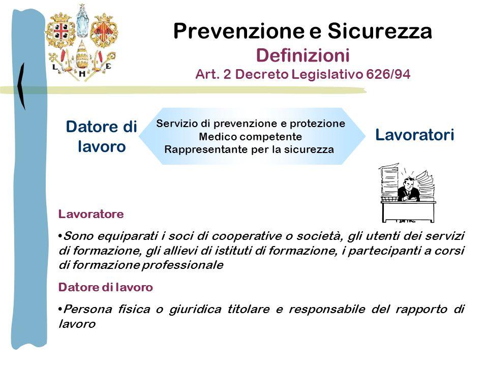 Prevenzione e Sicurezza Definizioni Art.