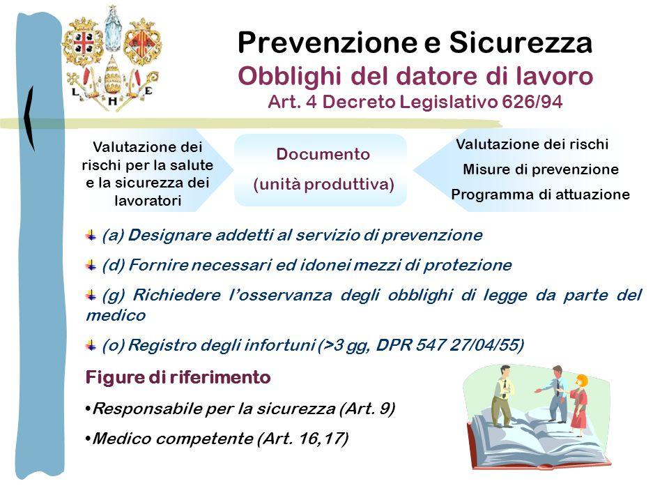 Prevenzione e Sicurezza Obblighi del datore di lavoro Art.