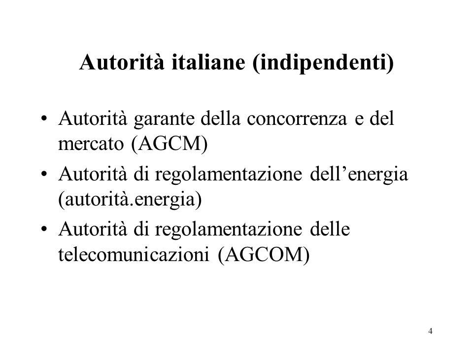 Autorità italiane (indipendenti) Autorità garante della concorrenza e del mercato (AGCM) Autorità di regolamentazione dell'energia (autorità.energia) Autorità di regolamentazione delle telecomunicazioni (AGCOM) 4
