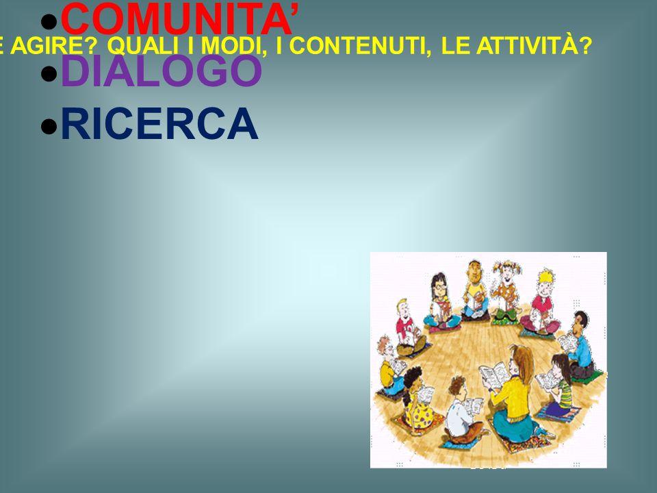 l'attenzione dovrebbe essere rivolta alla creazione di una struttura intessuta sui concetti di :  COMUNITA'  DIALOGO  RICERCA COME AGIRE? QUALI I M
