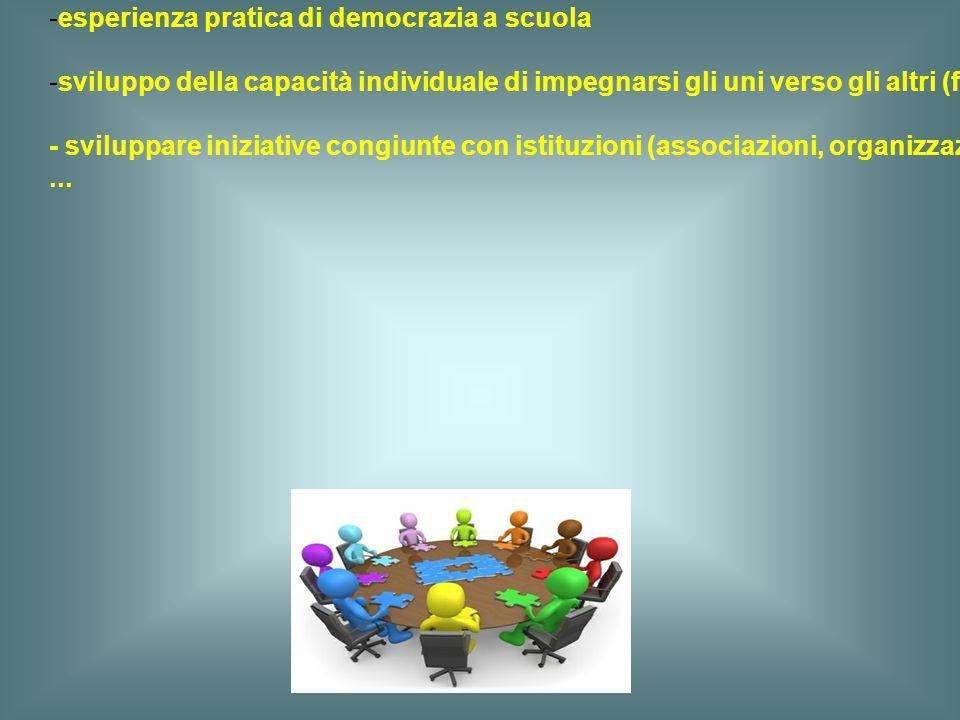 c) una partecipazione attiva - coinvolgimento nella comunità in senso lato (a livello scolastico, locale, nazionale, internazionale) - esperienza prat